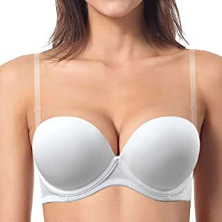 Push up Strapless Padded Convertible Add a Cup Underwire Supportive Bra with Clear Straps for Women's Wedding
