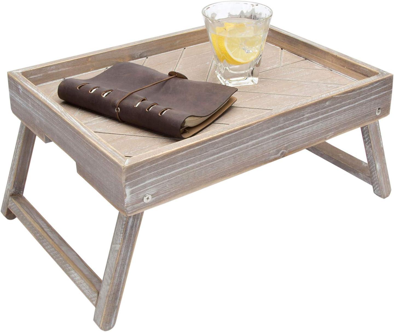 MyGift Wholesale Vintage Graywashed Wood Opening large release sale Breakfast Legs w Tray Foldable