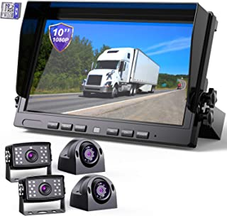 """$399 » eRapta Backup Camera System with 10"""" Larger Monitor for Trucks Side/Front/Rear View Back Up Camera Vehicle Security System..."""