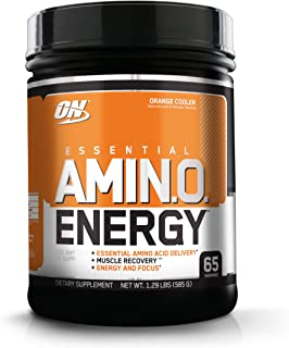 Optimum Nutrition Amino Energy - Pre Workout with Green Tea, BCAA, Amino Acids, Keto Friendly, Green Coffee Extract, Energy Powder - Orange Cooler, 65 Servings