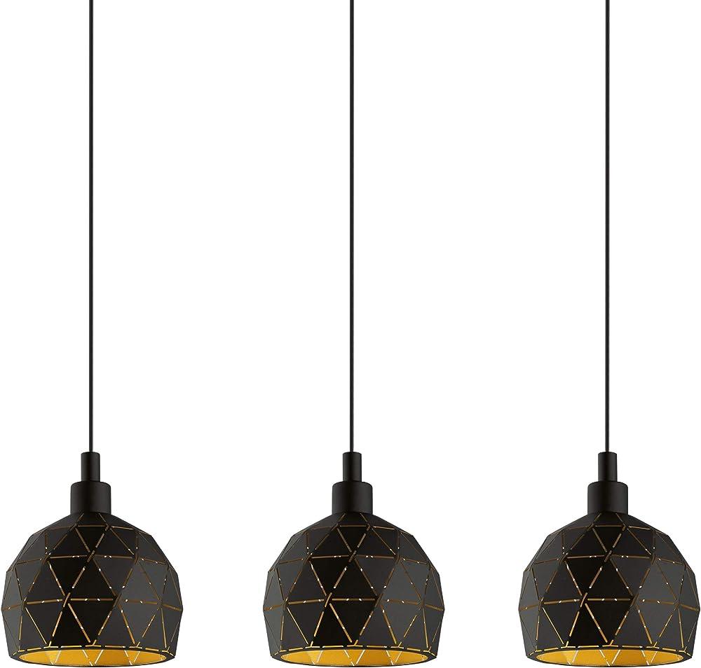 Eglo roccaforte  lampadario a sospensione a 3 luci, in acciaio 97846