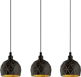 Eglo Roccaforte - Lámpara de techo (3 focos, acero, casquillo: E14), color negro y dorado