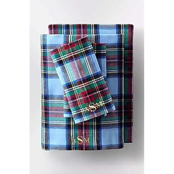 Amazon Com Lands End 5oz Velvet Flannel Plaid Sheets K Chilled Blue Plaid Kitchen Dining