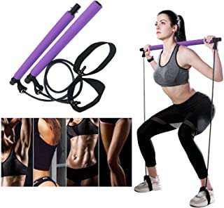 DREAM HORSE Pilates Exercise Resistance Bands Yoga Pilates Bar Kit Muscle Toning Bar Portable Home Gym Pilates Body Shapin...