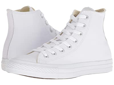 Converse Chuck Taylor(r) All Star(r) Leather Hi (White Monochrome) Classic Shoes