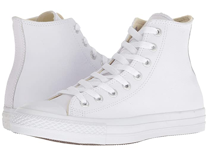 Mens 1920s Shoes History and Buying Guide Converse Chuck Taylorr All Starr Leather Hi White Monochrome Classic Shoes $59.95 AT vintagedancer.com