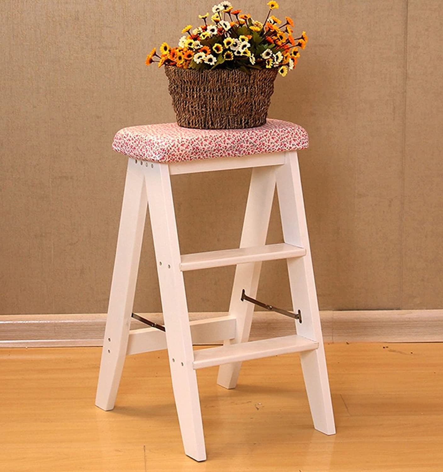 WFFXLL 3 Steps Step Stool,Solid Wood Folding Ladder Stool-Household Step Ladder Thickening Multi-Purpose,3 colors Step Stool (color   White)