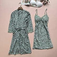 Dames Badjas 2 Stks Dames Luipaard Nachtkleding Sexy Kimono Badjas Jurk Zomer Casual Nachtkleding Homewear