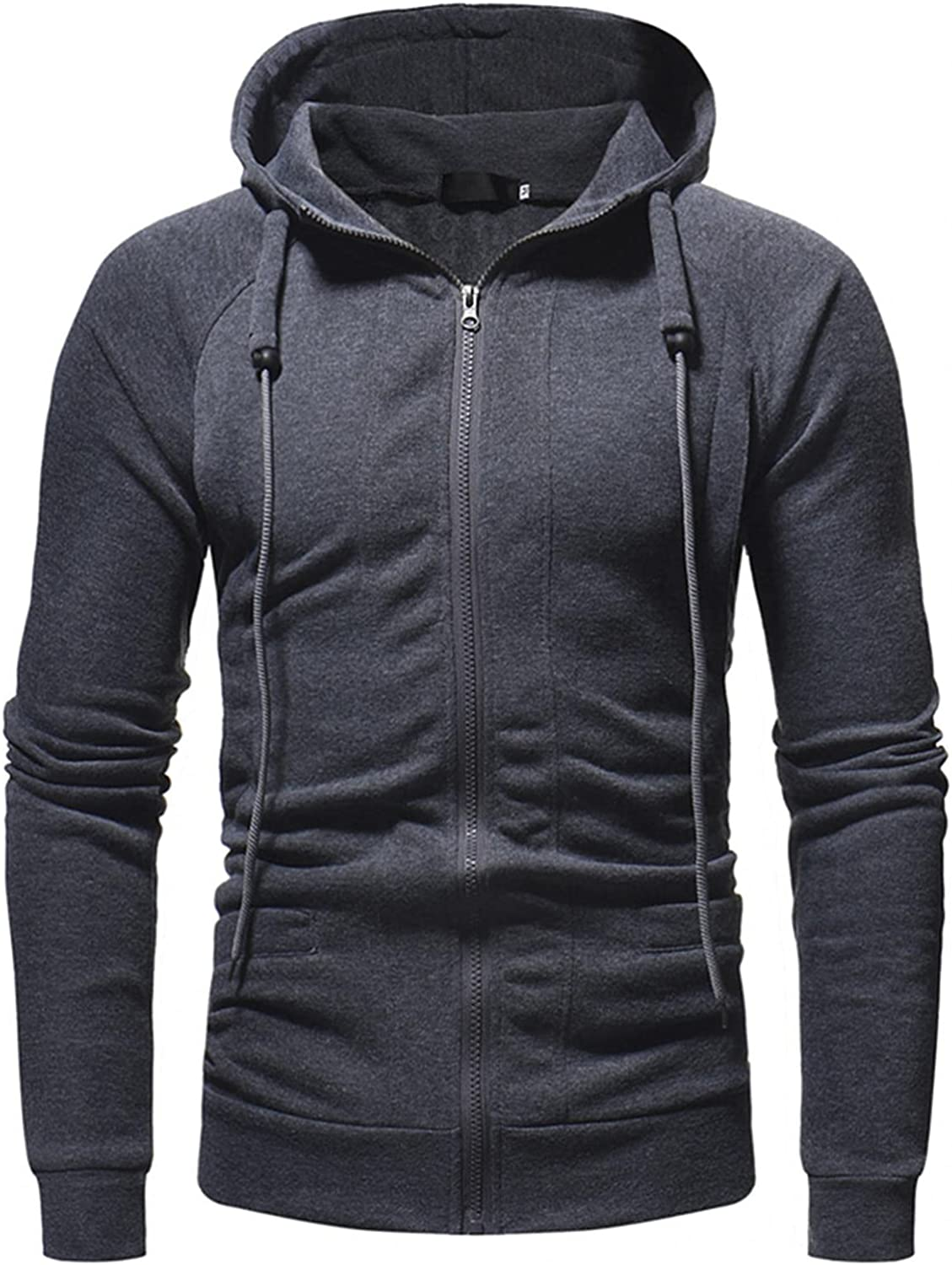 XUNFUN Mens Slim Fit Long Sleeve Classic Lightweight Full Zip Solid Color Hooded Sweatshirts Jacket Coat with Pocket
