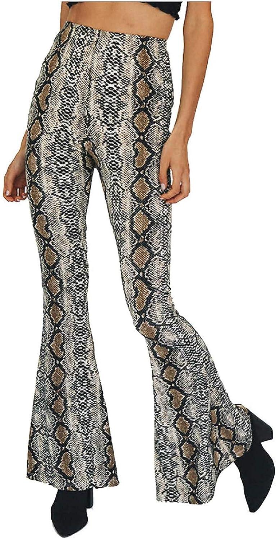 Abyelike Women Leopard Snakeskin Print High Waist Casual Wide Leg Long Palazzo Pants Trousers