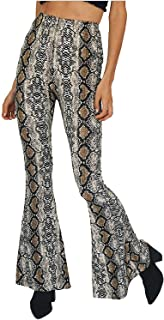 Women Leopard Snakeskin Print High Waist Casual Wide Leg Long Palazzo Pants Trousers