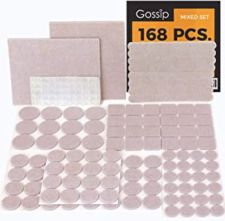 GOSSIP Felt Furniture Pads Beige - Set 168 Pcs Value Pack, Heavy Duty Adhesive Felt Pads for Furniture Feet to Protect Hardwood Flooring, Assorted Sizes with Noise Dampening Clear Bumper