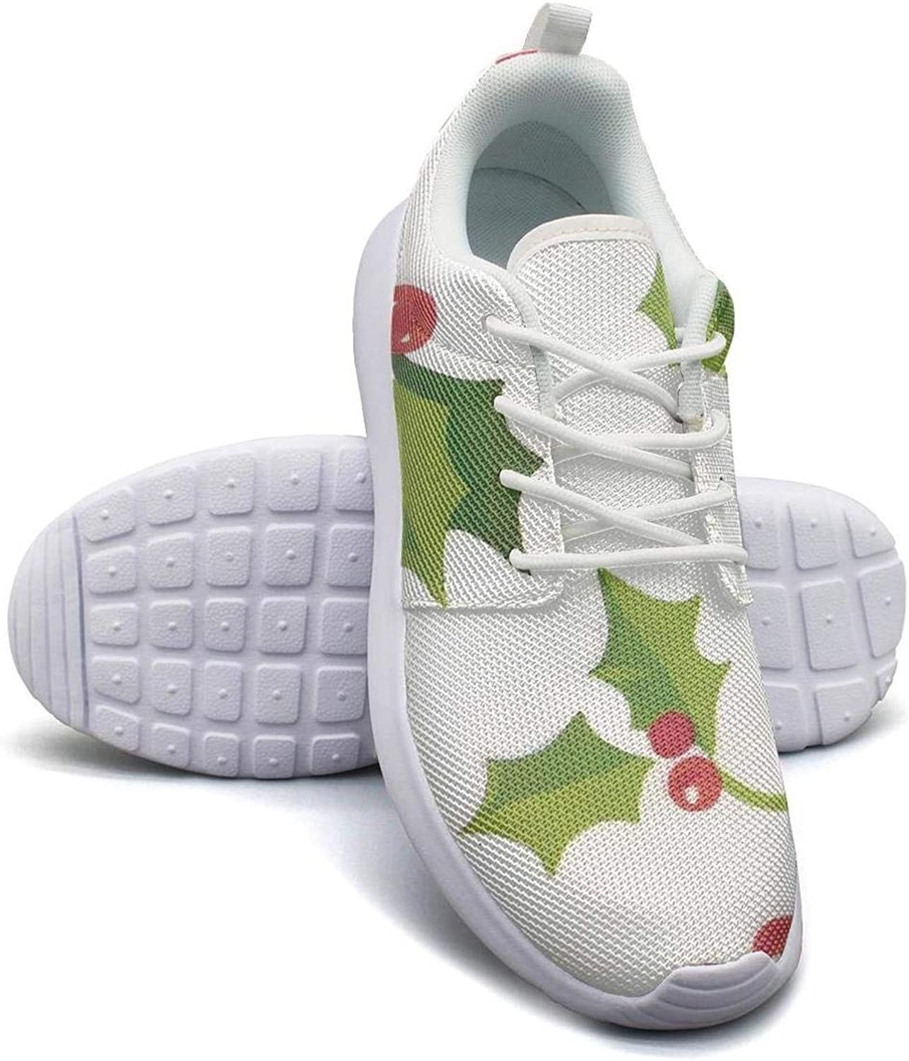 Gjsonmv Christmas Holly Leaves Berries mesh Lightweight shoes for Women Fashion Sports Trail Running Sneakers shoes