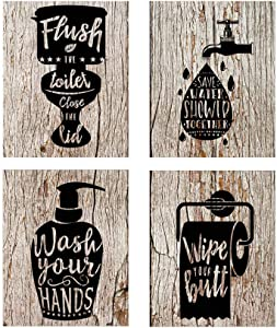 guibaoguo Nostalgia Funny Bathroom Signs (Set of 4 Unframed - 8 x 10 Inches), Bathroom Typography Wall Decor Prints,Vintage Planks Unframed Great Gift for Bathroom Decoration