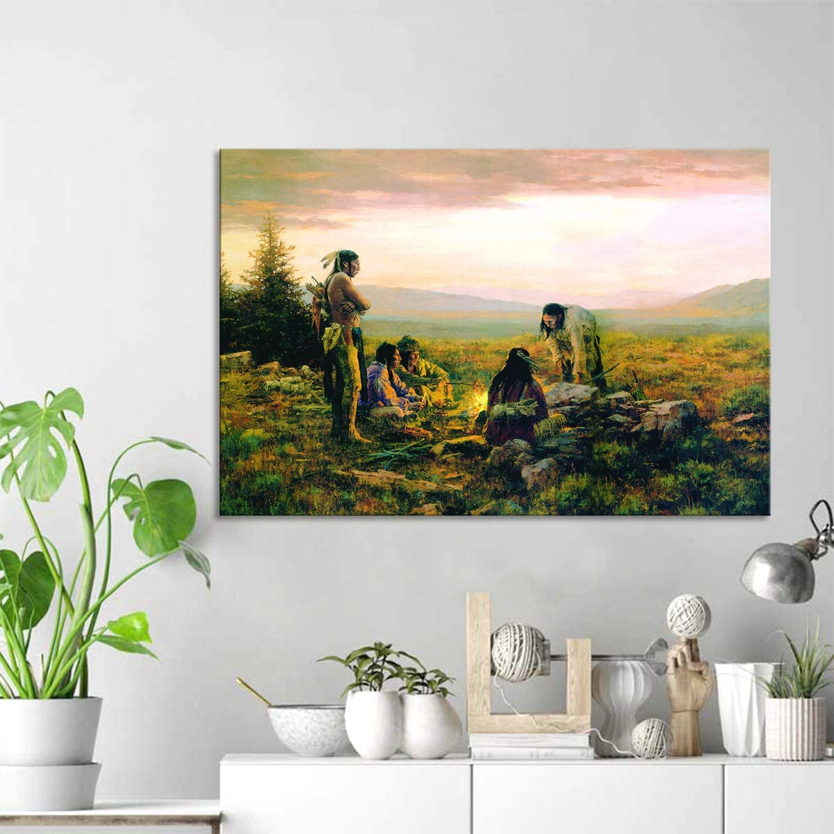 Indian Paintings Printed on Canvas Posters and Prints on Canvas Painting  Decorative Wall Art Picture for Restaurant Home Décor 10inx10in,Framed