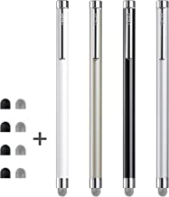 Stylus, ChaoQ 4 Pcs Mesh Fiber Tip Stylus Pens for Universal Touch Screens Devices, with 4 Extra Replaceable Mesh Fiber Tips and 4 Extra Rubber Tips