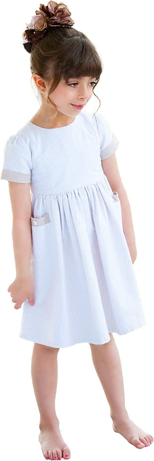 Girls' 2021 autumn and winter new Oxford Light Beige Striped Easter Credence Pockets - with 10 Dress