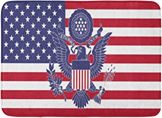 Emvency Bath Mat Eagle Blue States Great Seal The USA Red United Army Bathroom Decor Rug 16