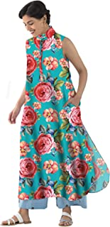 RADANYA Women's Floral Pattern Sleeveless Long Length Cotton Tops Tunic Kurta