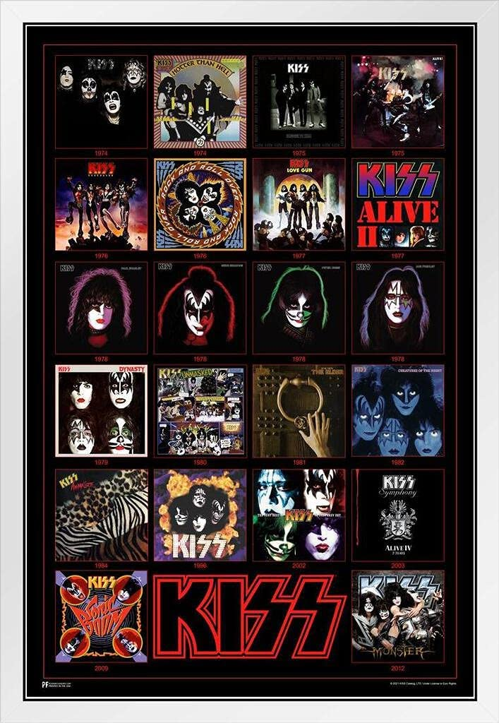 Kiss White Opening large release sale Wood Framed Poster New York Mall Album Records Covers Destroy Vinyl