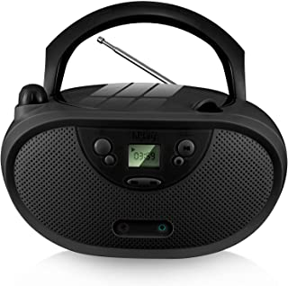 hPlay GC04 Portable CD Player Boombox with AM FM Stereo Radio Kids CD Player LCD Display, Front Aux-in Port and Headphone ...