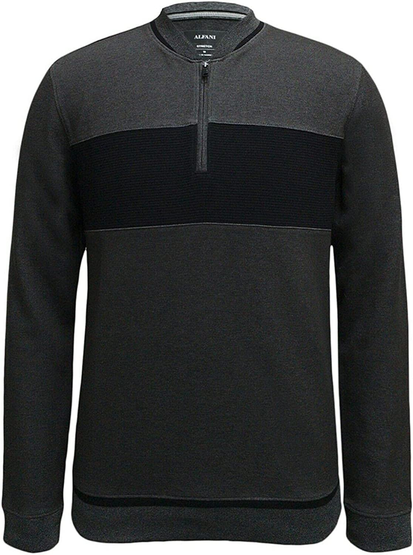 Alfani Mens Sweatshirt Baseball Collar Ottoman Rib 1/4 Zip Gray 2XL