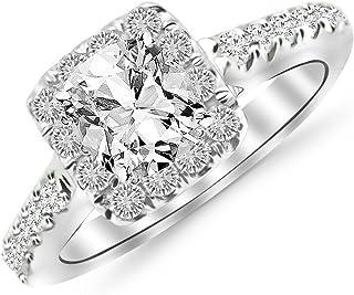 1.5 Ctw Cushion Cut Square Halo Cushion 14K White Gold Diamond Engagement Ring (J-K Color I1-I2 Clarity 1 Ct Center)