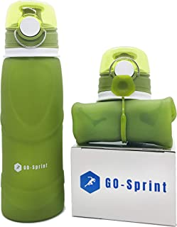 Go-Sprint Collapsible Water Bottle 26oz (750ml) Medical Grade Silicone,  BPA Free,  Leak Proof with Foldable Roll Up Features for Travel,  Sports,  Outdoor & Indoor Use.