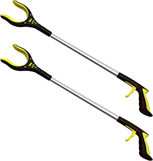 RMS 2-Pack 32 Inch Extra Long Grabber Reacher with Rotating Gripper - Mobility Aid Reaching Assist Tool, Trash Picker, Litter Pick Up, Garden Nabber, Arm Extension (Yellow)