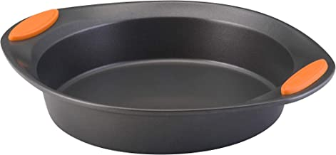 Rachael Ray Yum-o! Nonstick Bakeware 9-Inch Oven Lovin' Round Cake Pan, Gray with Orange Handles