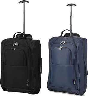 2PC Léger Carry on Luggage Set Sac Fourre-tout extensible Valise Noir Rolling