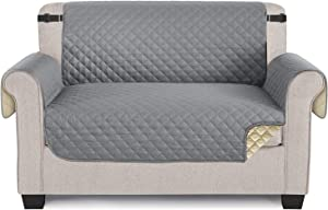 TAOCOCO Loveseat Cover Sofa Slipcover for Dogs, Durable Pet Cover for Loveseat with Elastic Straps, Anti-Skid Washable Furniture Protector Couch Cover for 2 Cushion Couch (47'' Medium, Light Gray)