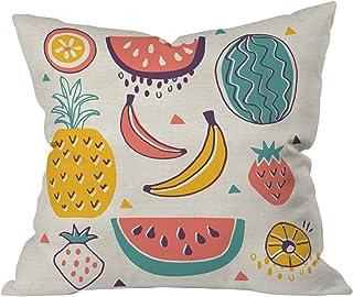 """Deny Designs Zoe Wodarz Summer Porch Blue Outdoor Throw Pillow, 16"""" x 16"""""""