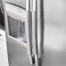 OUGAR8 Refrigerator Door Handle Covers Handmade Decor Protector for Ovens, Dishwashers.Keep Your Kitchen Appliance Clean From Smudges,Food Stains(Rhombus Gray,19.7