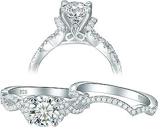 Newshe زفاف حجم 5 8 9 10 خواتم الخطوبة مجموعات الزفاف للنساء الفضة الاسترليني 2.3ct تشيكوسلوفاكيا جولة