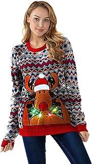 Unisex Women's LED Light-up Ugly Christmas Sweater Funny Flashing Pullover Knit Santa Reindeer Festive