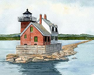 Rockland Breakwater Lighthouse Maine Coast Watercolor Matted Art Prints (8x10)