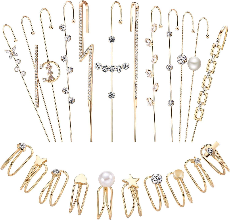 22 Pieces Ear Cuff Wrap Crawler Hook Earrings Ear Cuff Earrings Gold Climber Earrings Set Rhinestone Crawler Piercing Earrings Cartilage Clip on Earrings for Women Girls