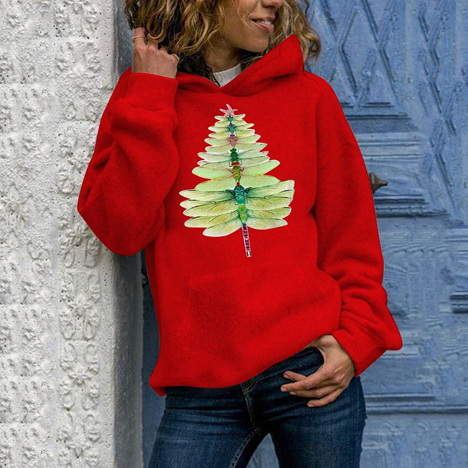 FUNEY Christmas Tree 3D Print Hooded Sweatshirt Casual O-Neck Long Sleeve Leisure Slouchy Pullover Tunic Tops for Women