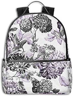 Unisex Stylish Schoolbags, Laptop Backpack, Multifunction Durable Leisure College Student Daypack -Mulberry blue purple black white floral