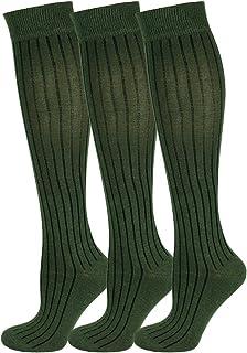Mysocks, 3 pares de calcetines largos hasta la rodilla unisex lisos acanalados con algodón peinado extra fino
