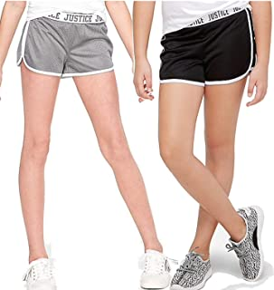 Justice Girls Logo Waist Dolphin Mesh Shorts