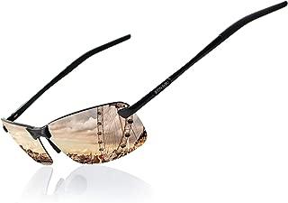 Ronsou Men UV400 Rimless Aluminium-Magnesium Polarized Sunglasses For Driving Fishing Golf Outdoor