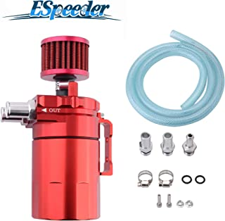 ESPEEDER Universal Aluminum Oil Catch Can Polish Baffled Reservoir Tank Red with Breather Filter 300ml