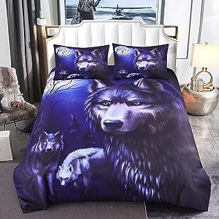 llwannr Duvet coversLuxuryLifelike Animal Pattern Duvet Cover Set with Pillow Covers 3D Wolf with Moon Bedding Set AU/US/EU/UK Twin Size Bed Set