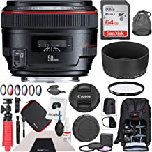Canon EF 50mm f/1.2L USM Standard Prime Lens 1257B002 with 72mm Multicoated UV, Polarizer & FLD Filter Kit and Deco Gear Photography Backpack Deluxe Bundle