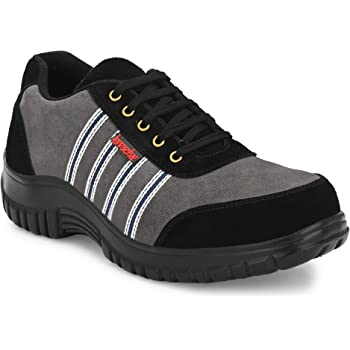 Kavacha Suede Leather Steel Toe Safety Shoe, S75 Size : 9