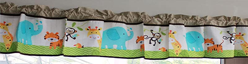 Nursery Room Window Valance Forest Animals Sea Journey Car Window Valance For Baby Boy Baby Girl Green Monkey Elephant