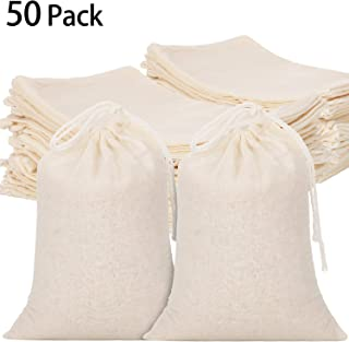 Tatuo 50 Pieces Cotton Drawstring Bags Muslin Bag Sachet Bag for Wedding Party Home Supplies (6 by 7.9 Inches)