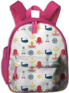 Sailboat Pattern Lightweight Book Bag Cool Animal Kid's School Daypack Camp Kids Kindergarten Backpacks 12.5
